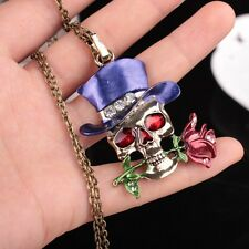 Tibet Rhinestone Charm Skull Pendant Flower Crystal Necklace Gold Plated Chain
