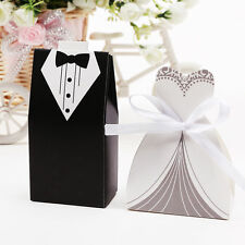 50/100/200 Wedding Party Ribbon Candy Box Groom Bridal Tuxedo & Dress Gifts Bags