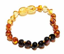 Genuine Baltic Amber Beads Baby Anklet Bracelet Rainbow 5.3 - 5.7 in Wholesale