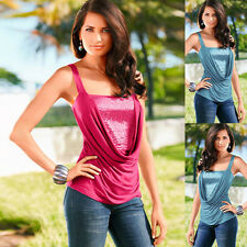 Womens Summer Sexy Sleeveless Patchwork Fit Top Sequin Slim Blouse T-Shirt New