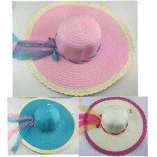 New Womens Beach Derby Cap Wide Summer Cloche Sun Straw Ribbon Bow Hat