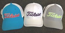 Titleist Stretch Tech Fitted Men's Golf Hat NEW White Grey Turquoise S/M L/XL