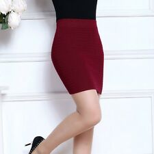 Lady Mini Bodycon Pencil Skirt Short Stretch High Elastic Waist Knitted Sexy Hot