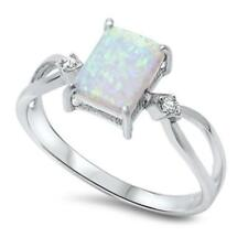925 Sterling Silver WHITE AUSTRALIAN OPAL & CZ All Sizes Available SIZE 6 Ring
