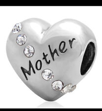 Mother' diamond heart charm - Genuine 925 Sterling Silver -