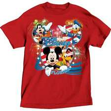 Disney Adult T-Shirt USA Mickey Pluto Goofy Donald Florida Red
