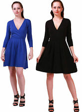 ASOS Ladies Black or Blue Knitted Cotton Pull Over Jumper Midi Wrap Dress 6 8 10