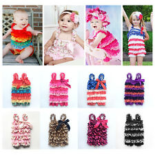 Cute Infant Girls Baby Lace Ruffle Romper Bowknot Jumpsuit Dress Petti Outfit