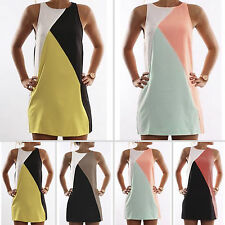 Womens Sleeveless Mini Dress Summer Party Shift Dresses Sundress Tunic Long Tops
