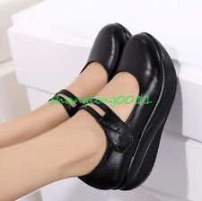 Womens Fashion Round Toe Wedge Heels Leather Mary Janes Pumps Shoes Nurse Shoes