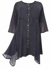 Eaonplus plus size 18/20 22/24 26/28 30/32 black embroidered tunic top blouse