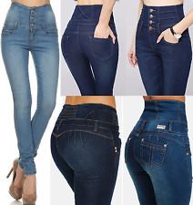 NEW WOMENS SUPER HIGH WAISTED JEANS SKINNY FIT RIPPED JEGGINGS CORSET SIZES 6-16