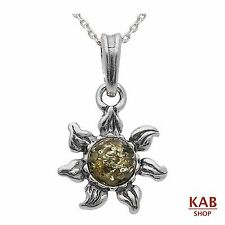 GREEN BALTIC AMBER STERLING SILVER 925 BEAUTY PENDANT+chain. KAB-152