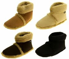 Mens Coolers  Faux Fur Lined Faux Suede Boot Slippers Sz Size 7 8 9 10 11 12