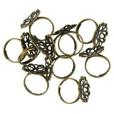 10pcs Vintage Adjustable Brass Blank Filigree Flower Ring Base