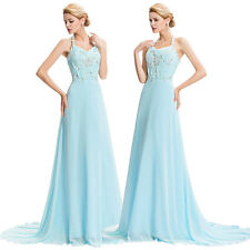 New Long Halter Chiffon Ball Gown Evening Prom Party Dress Maxi Sequin Size 2-16