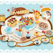 75Pcs Plastic Kitchen Cutting Toy Birthday Cake Pretend Play Food Set Kids Gift