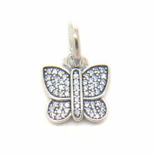 Genuine S925 Sterling Silver Sparkling Butterfly CZ Pendant Charm