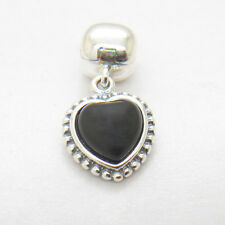 Authentic S925 Sterling Silver Black Heart Clip Dangle Charm