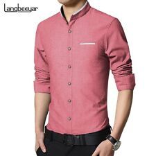 Casual Men Shirt Long Sleeve Mandarin Collar Slim Fit Shirt Men Korean Business