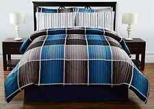 Complete Bed Comforter Set Size Queen & King w/ Sheets 8 piece Blue Cooper Plaid
