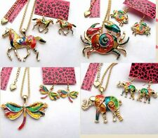 Betsey Johnson Colorful enamel Animals&Insects Necklace earring set#006T