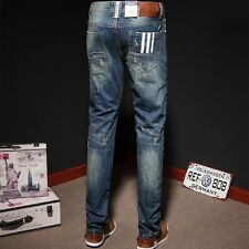 High Quality Mens Jeans Blue Color Printed Jeans For Men Ripped Button Jeans Cas