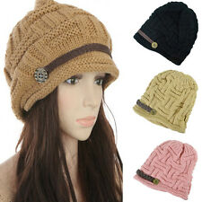 ALL New Women Braided Winter Rageared Warm Baggy Beanie Knit Crochet Ski Hat Cap