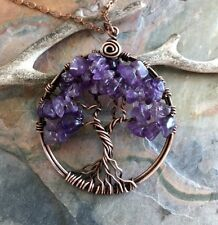 Amethyst Necklace, Amethyst Tree of Life Pendant Necklace Antiqued Copper