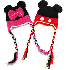 Baby Hat Mickey Minnie Mouse Girl Boy Kid Knitted Crochet Braid Cap Costume Cute