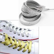 Fashion Metallic Glitter Flat Shoelaces Canva Sneaker Athletic Boot Shoe 45 inch