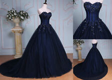 Hot Long Lace Sheer Corset Quinceanera Dress Prom Ball Gown Wedding Formal 2017