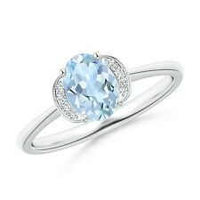 Solitaire Oval Natural Aquamarine Ring Diamond Accents 14k White Gold Size 6.5