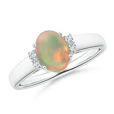 Oval shape opal solitaire ring with diamond accents 14k White Gold