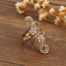 Vintage Unique Ring Fashion Flower Zirconia Ring Gold Plated Casual Dress Classy
