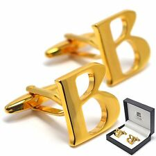 Letter Cufflinks Gold Plated Initial Buttons - Elegant Gift Box