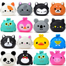 Womens Girls Kawaii Cartoon Animal Silicone Purse Jelly Coin Wallet Clutch Pouch