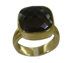 Smoky Quartz gold Plated Ring L-1.2in tempting Brown jewellery AU K,M,O,Q