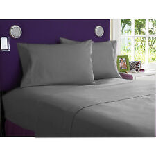 "GRAY SOLID ALL BEDDING COLLECTION 1000 TC 100%EGYPTIAN COTTON ""CAL-KING"" SIZE!"