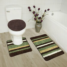 Abby 3 Piece Bathroom Rug Set, Bath Rug, Contour Rug, Lid Cover, Stripe Sage