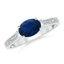 Natural Blue Sapphire Solitaire Engagement Ring Diamond Accents 14k White Gold