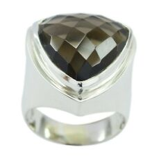Smoky Quartz 925 Sterling Silver Ring magnetic Brown gemstone AU K,M,O,Q