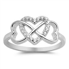 925 Sterling Silver Infinity Hearts Ring w/ Clear CZ Cubic Zirconia Sz 4-10