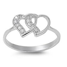 925 Sterling Silver Linking Heart Hearts Ring w/ Clear CZ Cubic Zirconia Sz 4-10