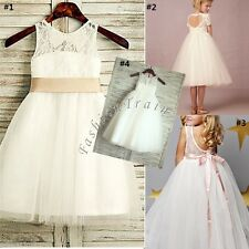 Flower Kids Girls Party Lace Princess Wedding Birthday Bridesmaid Recital Dress