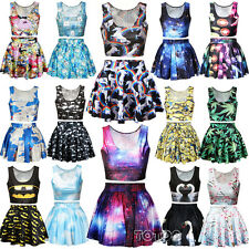 Women's Girls Crop Top Vest & Skirt Mini Dress Sport Party Cartoon Print Costume