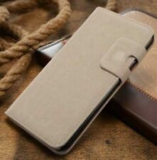 Magnetic Beige Magnetic Flip Wallet Swede Leather Case For iPhone 5 5s {pa230