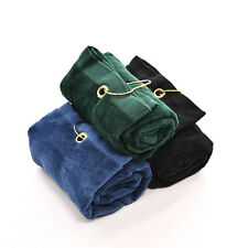 New 40x60cm Golf Tri-Fold Towel With Carabiner Clip Sport Hiking Cotton  y6