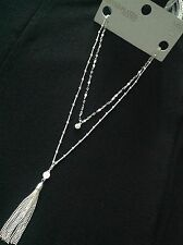 M&S Silver Plated Longline Layered Tassel Necklace BRAND NEW WITH TAGS