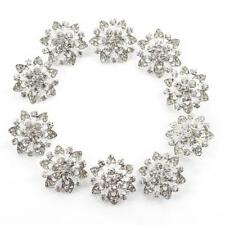 Flower Diamante Faceted Crystal Silver Gold Buttons Sewing Craft